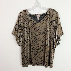 CHICO'S | Velvet Ruffle Sleeve Burnout Top Sz. XL